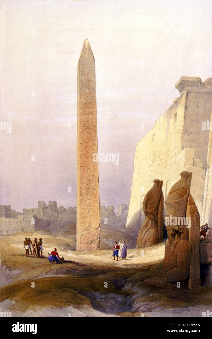 Temple of Luxor, Grand Entrance, 1830s - Stock Image