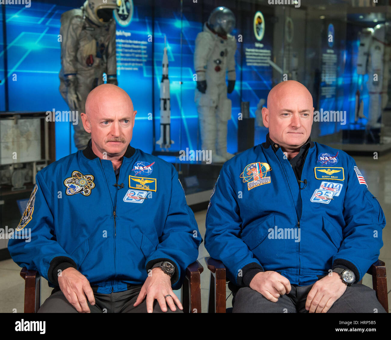 Houston Texas at the Johnson Space Center Expedition 45/46 Commander, Astronaut Scott Kelly along with his brother, - Stock Image