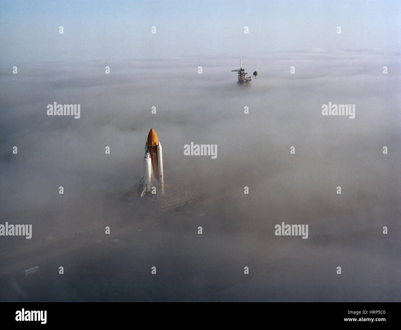 STS-6, Space Shuttle Challenger atop MLP, 1982 - Stock Image