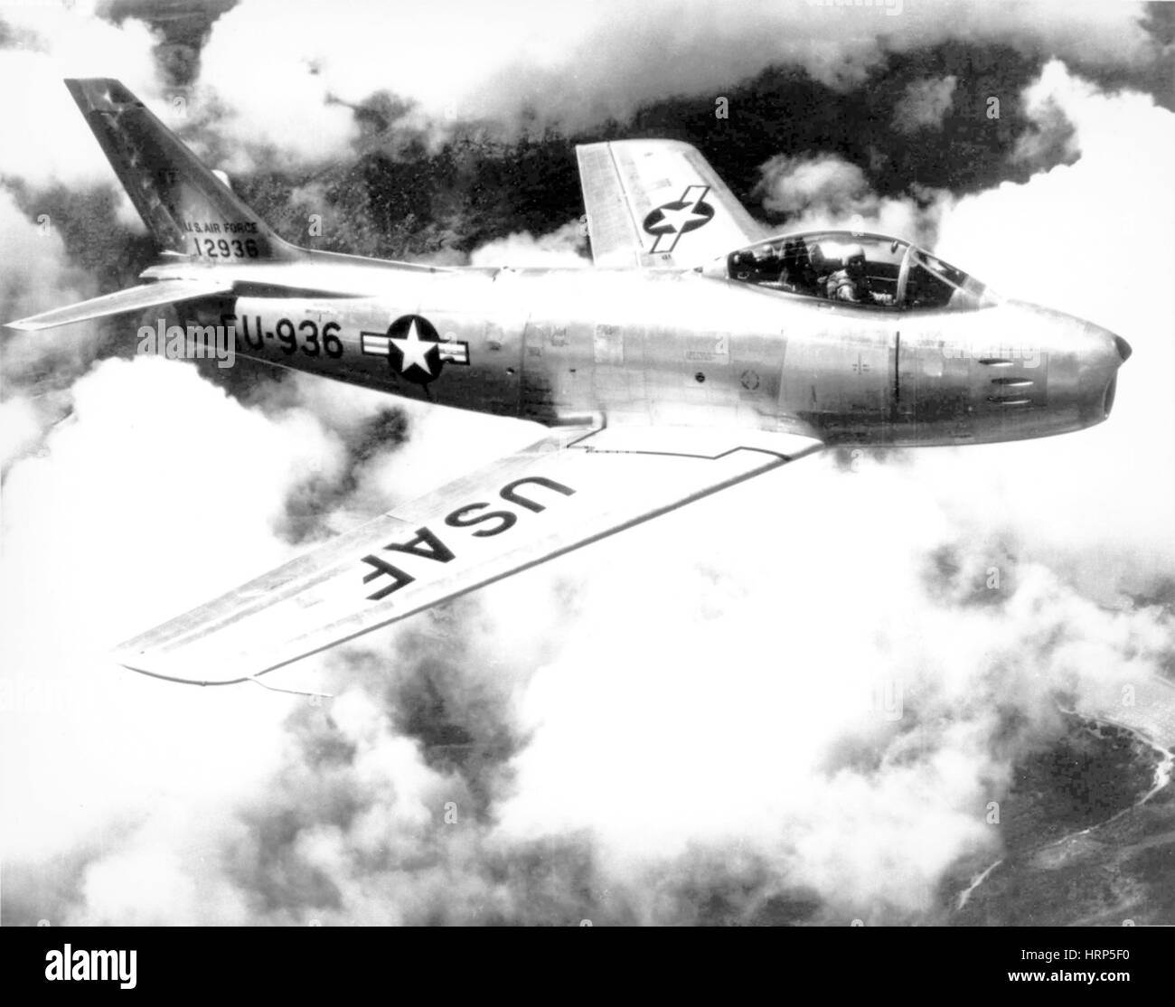 F-86 Sabre, First Swept-Wing Fighter, 1950s - Stock Image