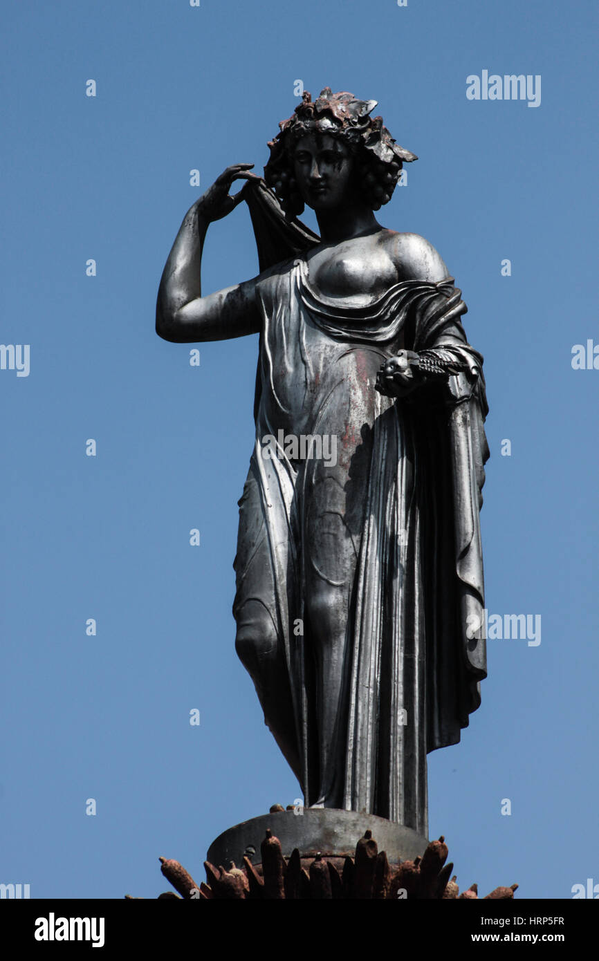 Cast iron statue, that represents Ceres, the goddess of the agriculture at XV of November Square, 'Jesus Square', - Stock Image