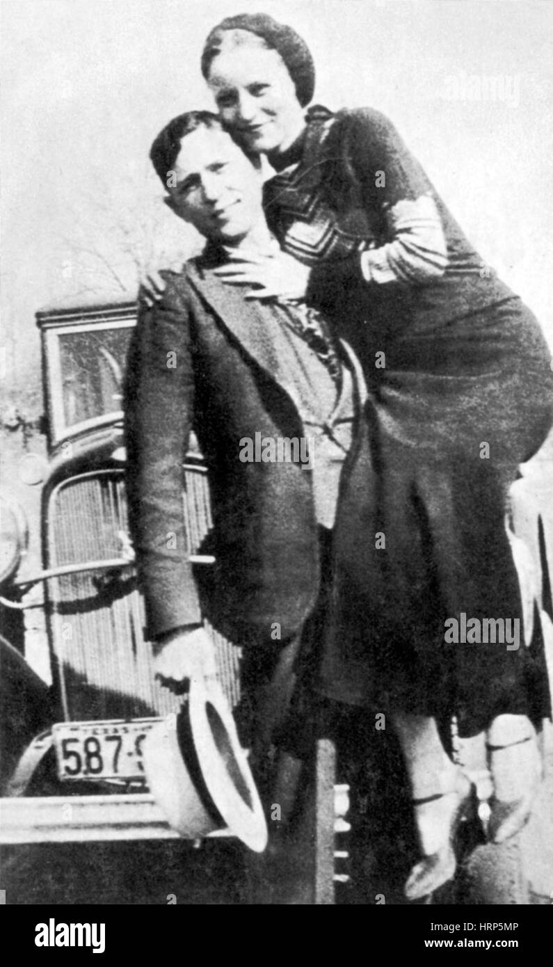 Bonnie and Clyde, American Criminals - Stock Image