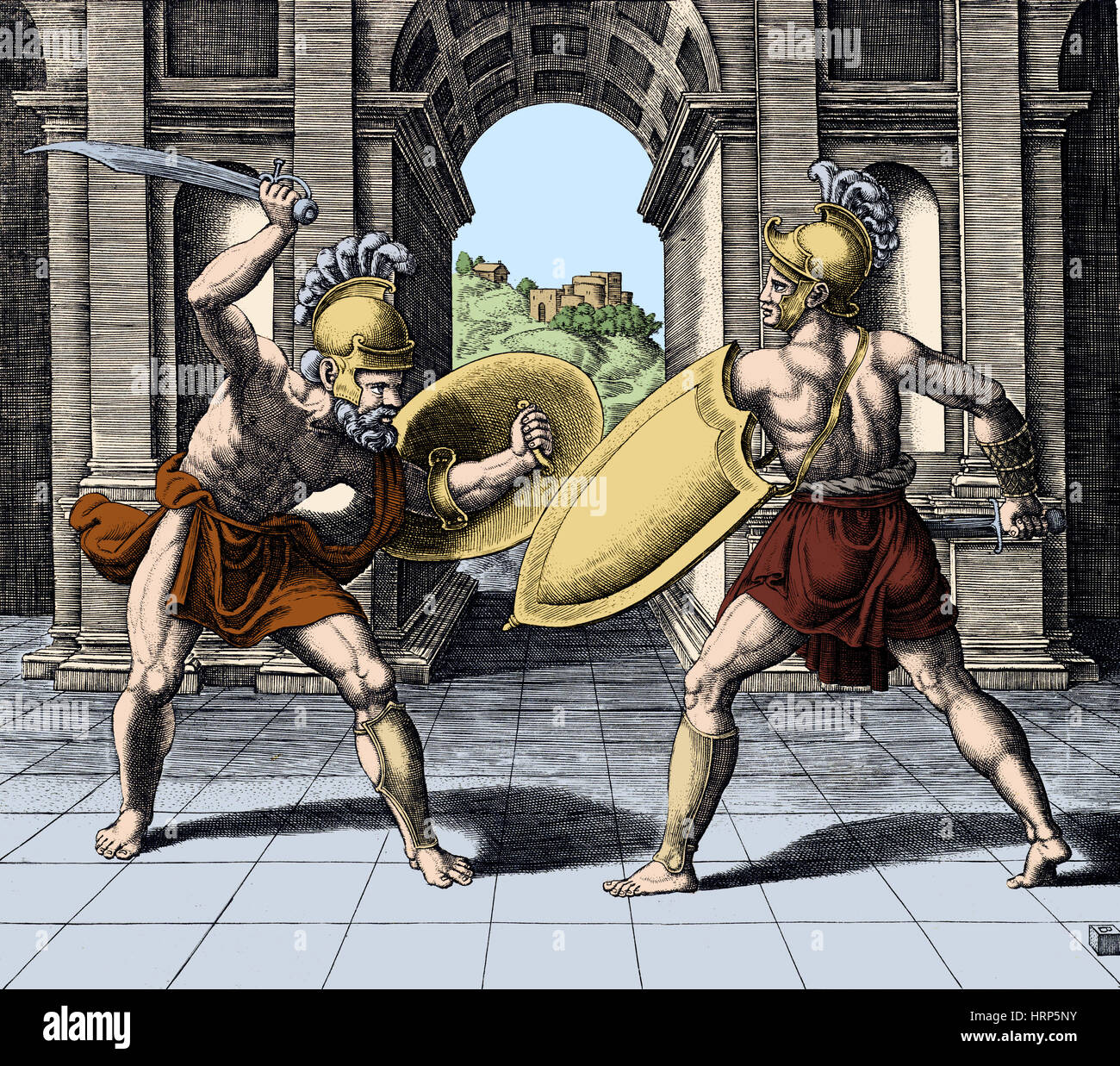Bread and Circus, Gladiators, Ancient Rome - Stock Image