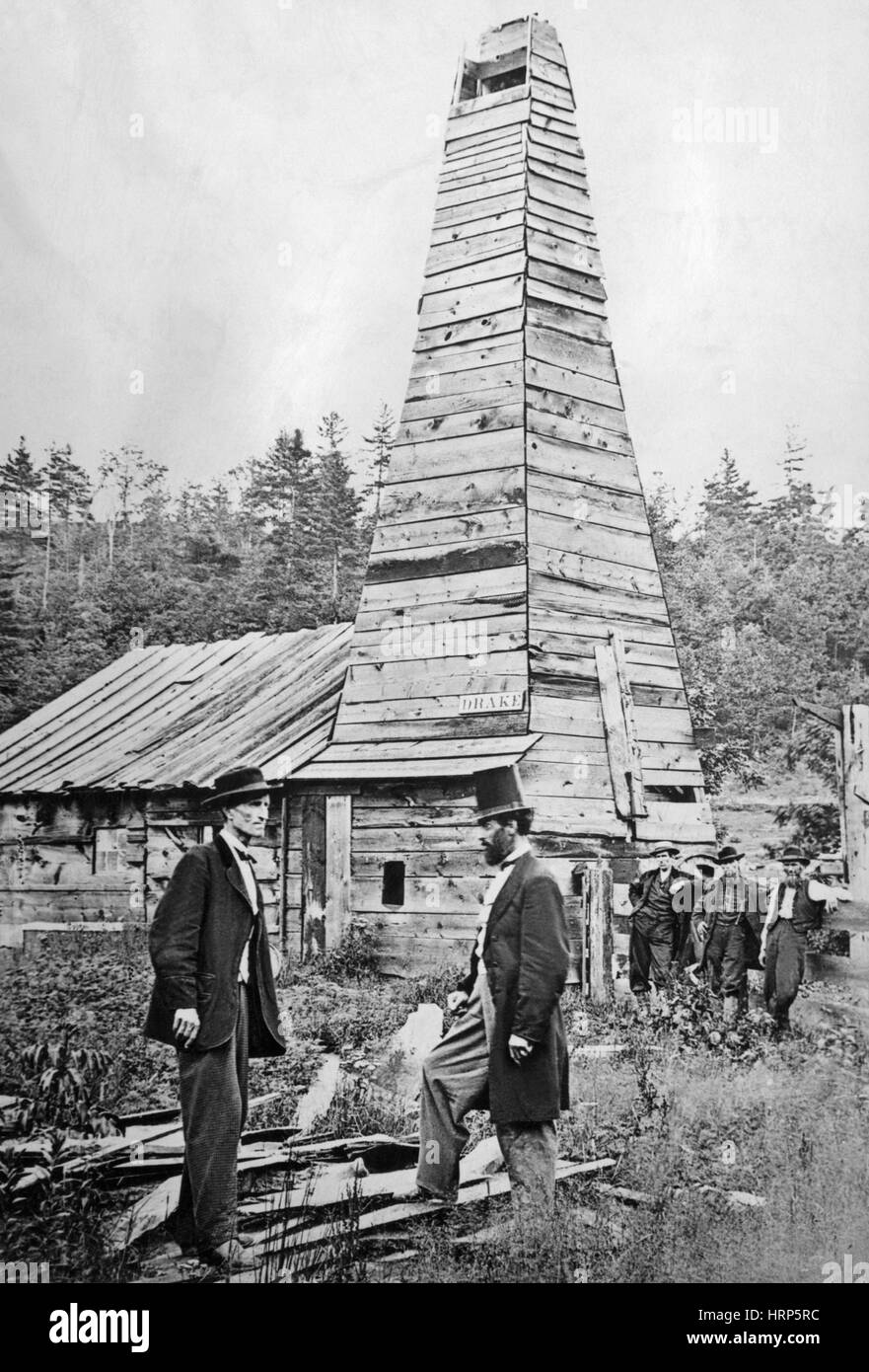 First Commercial U.S. Oil Well, 1859 - Stock Image