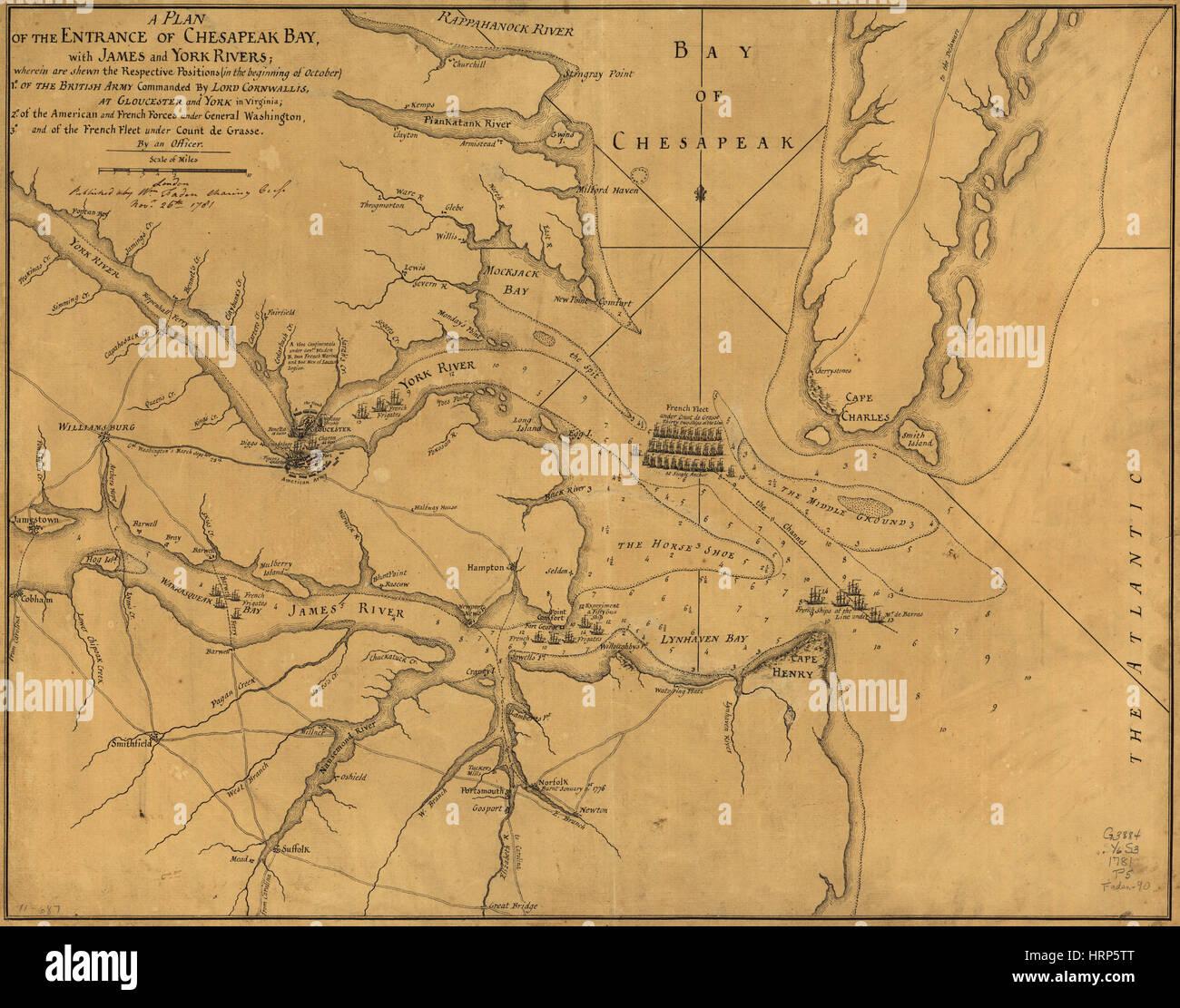 Battle Positions, Siege of Yorktown - Stock Image