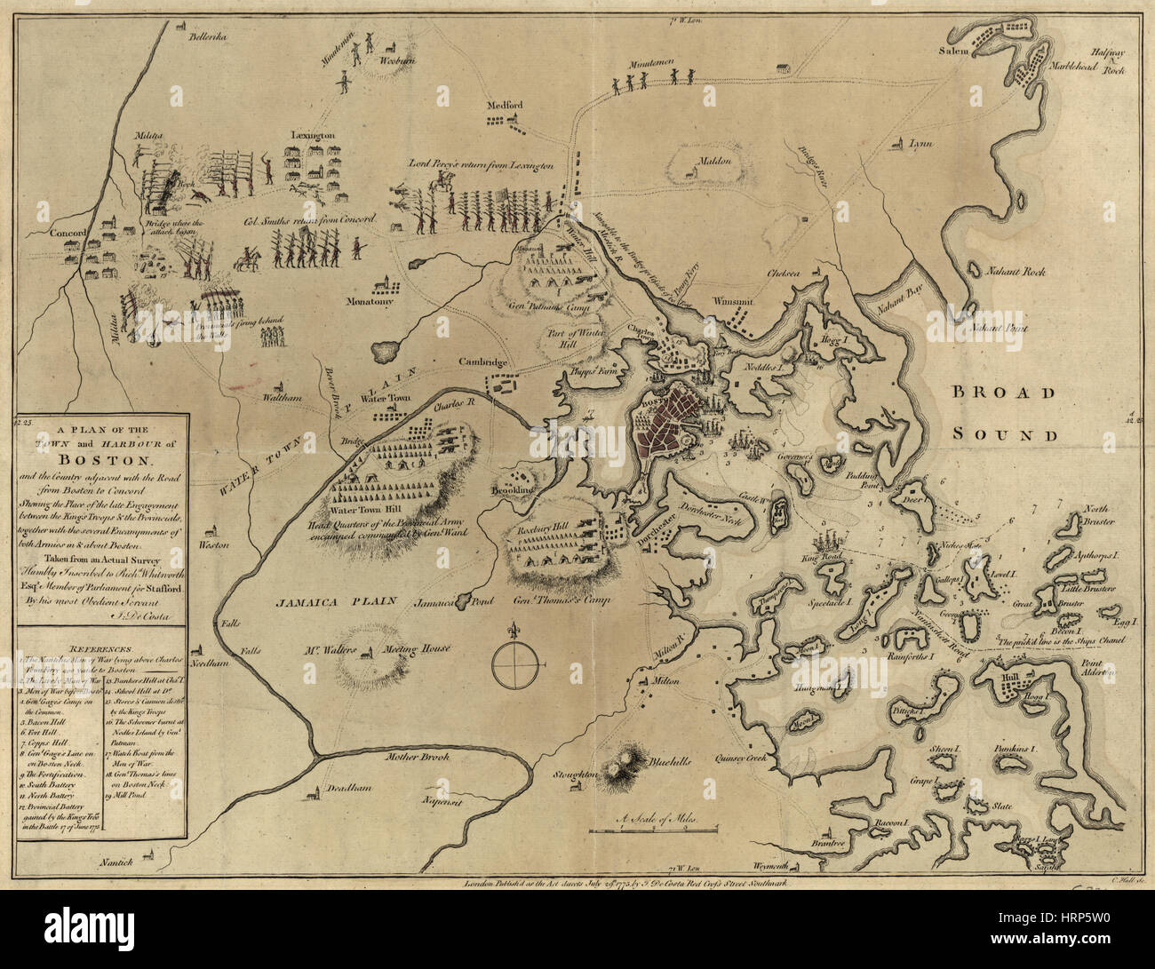 Battle Positions, Battle of Concord, 1775 - Stock Image