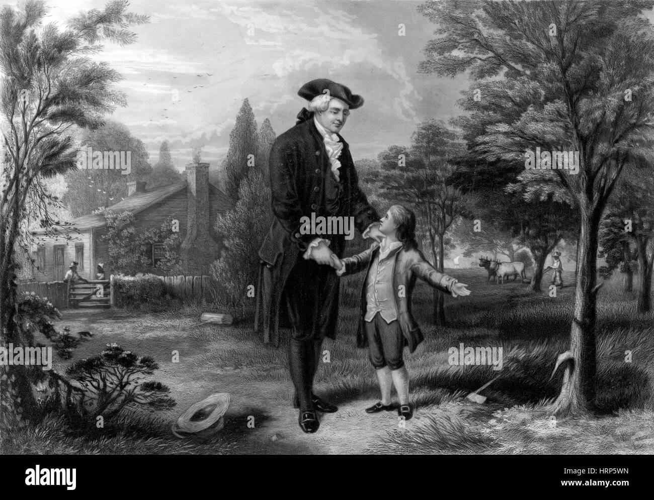 Young George Washington and Cherry Tree, 1738 Stock Photo ...