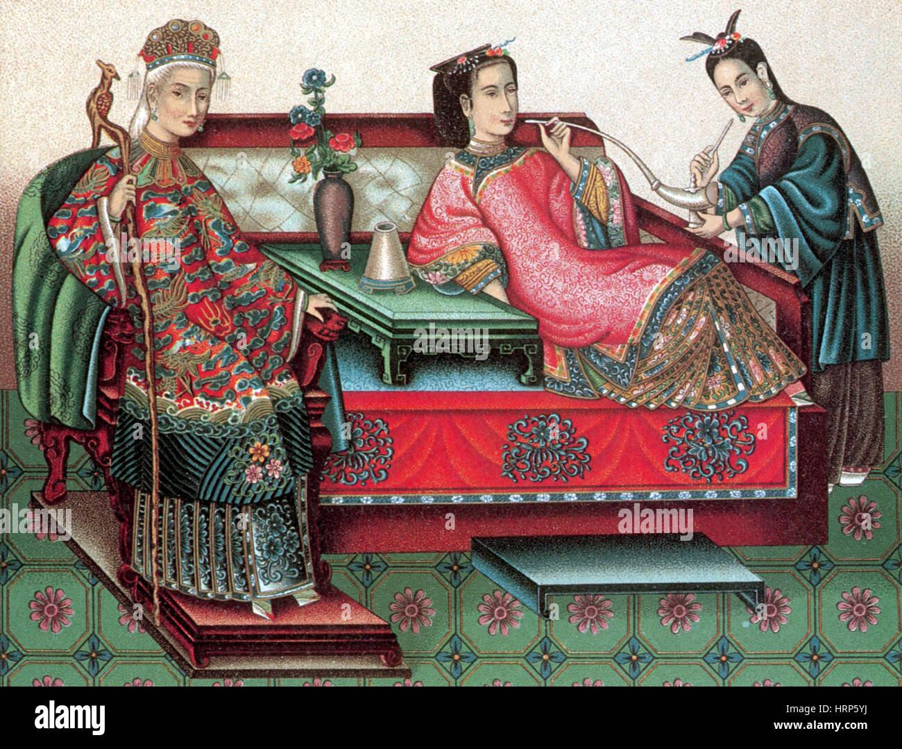 Chinese Empress Smoking Opium, 19th Century - Stock Image