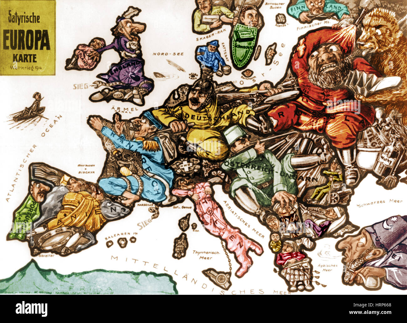 WWI, Satirical War Map of Europe, 1914 Stock Photo ...