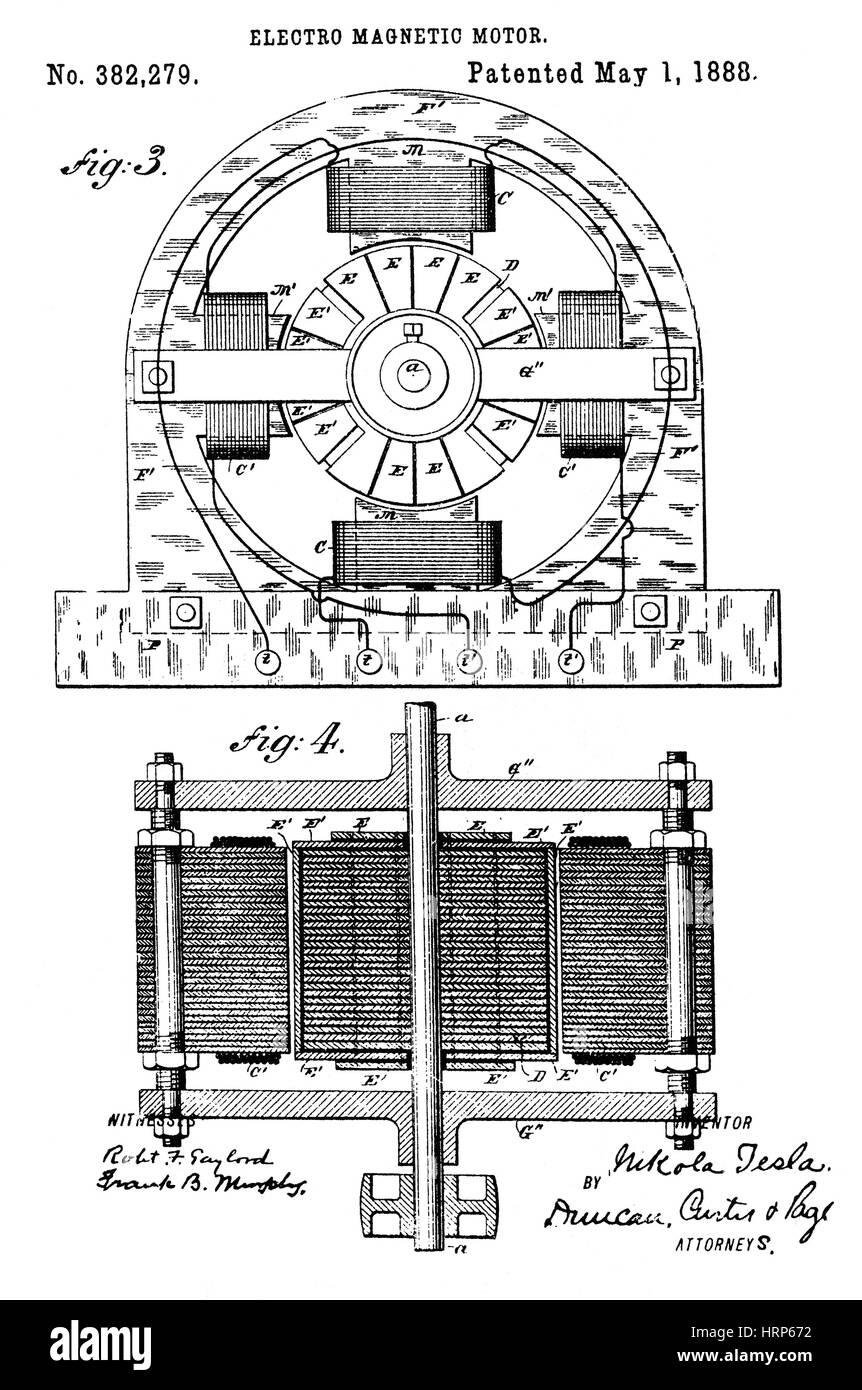 Tesla Electromagnetic Motor Patent, 1888 - Stock Image