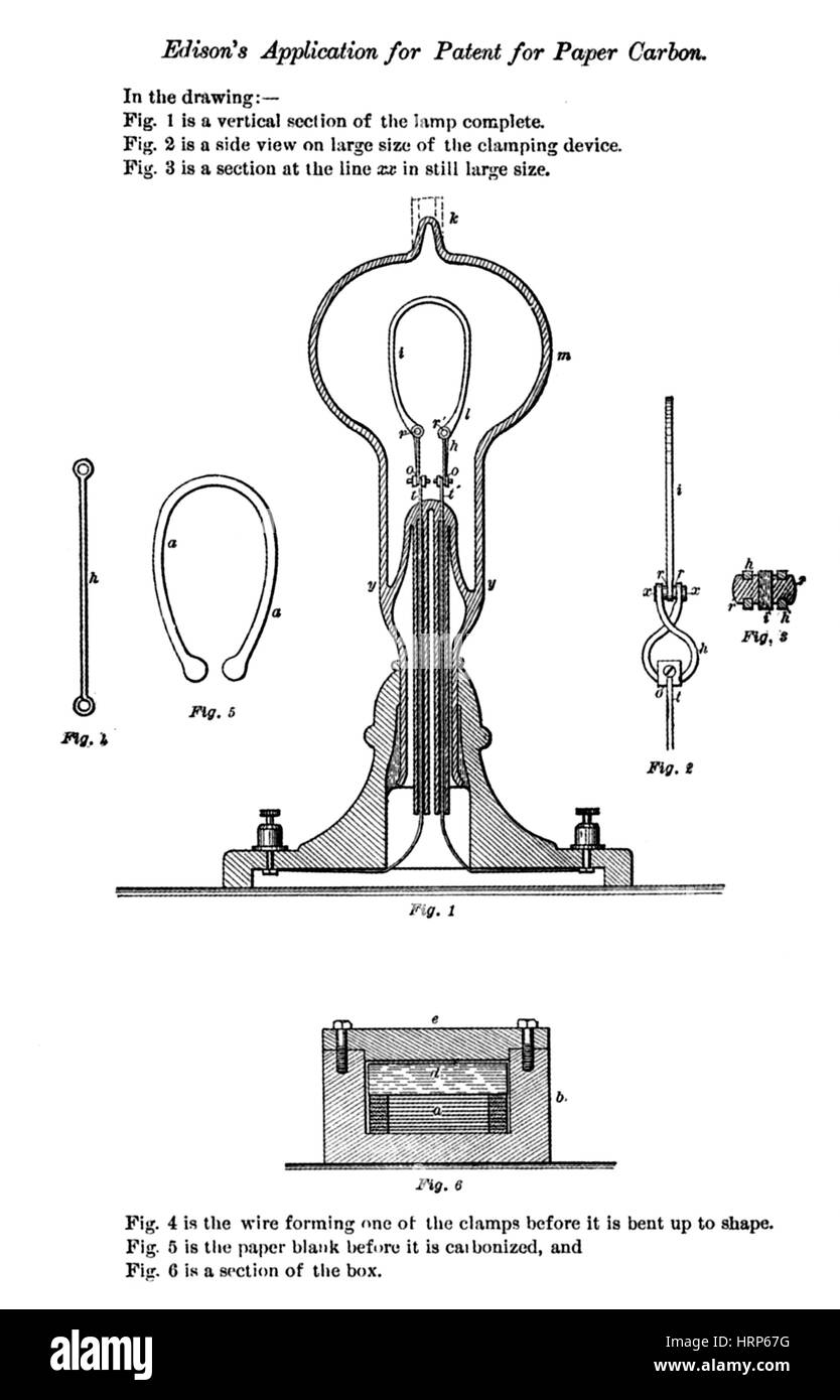 Thomas Edison, Patent Application, 1878 - Stock Image