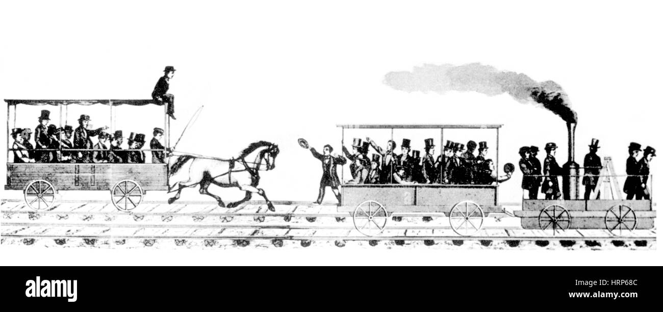 Tom Thumb Races Stagecoach, 1830 - Stock Image