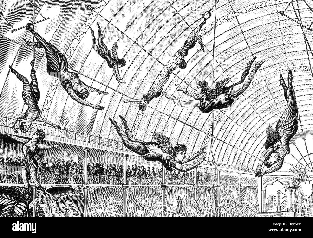 Circus Trapeze Act, 1890s - Stock Image