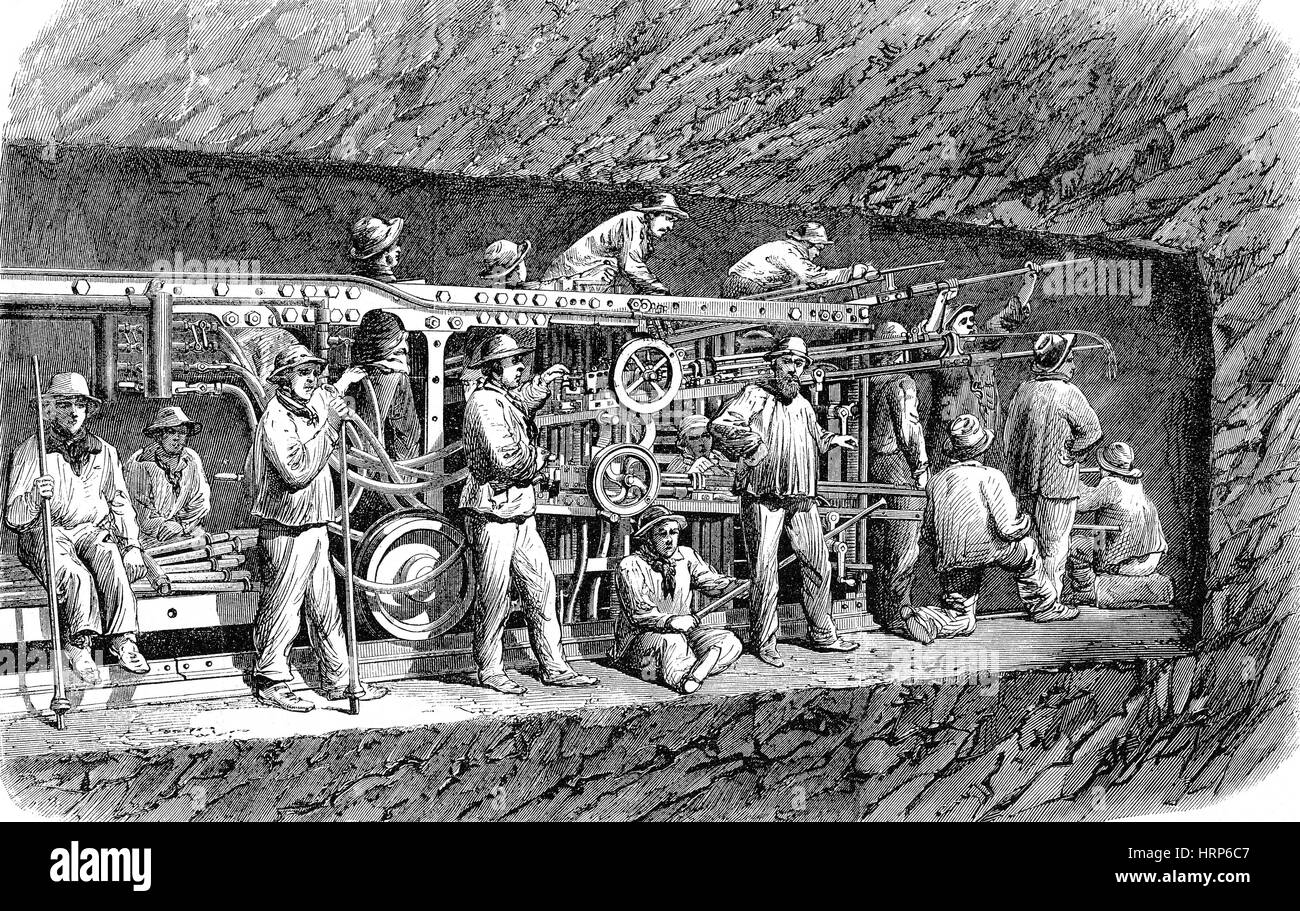 Mont Cenis Railway Tunnel Construction, 1860s - Stock Image