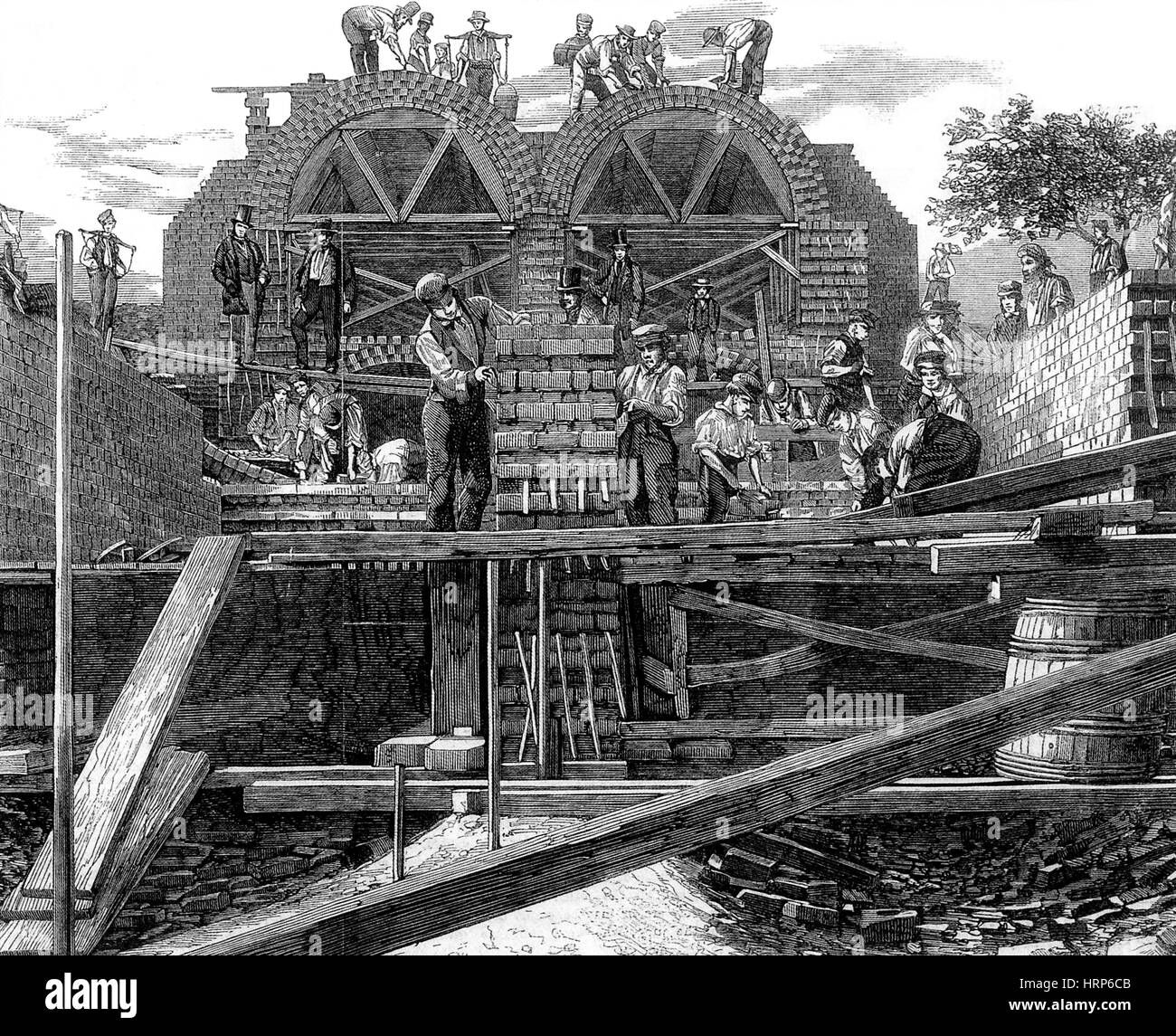 London Sewerage System Construction, 1859 - Stock Image