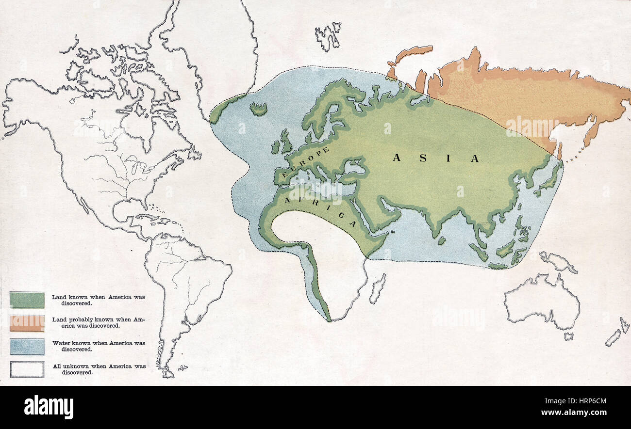 Map Of The World Before Columbus.World Map Before Columbus 1490s Stock Photo 135097668 Alamy