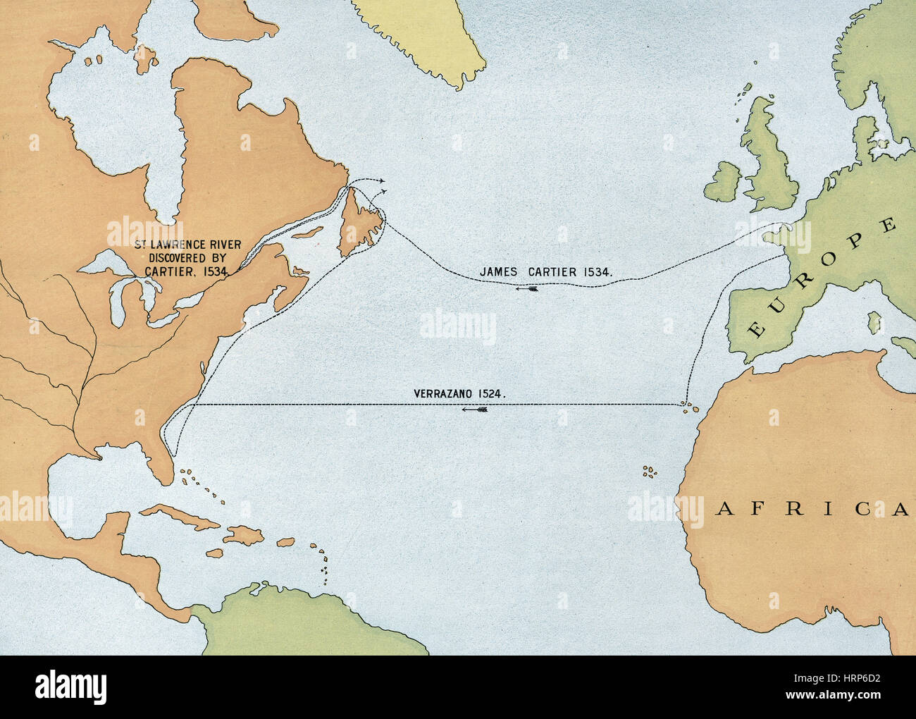 Voyages of Verrazano and Cartier, 1524 and 1534 - Stock Image