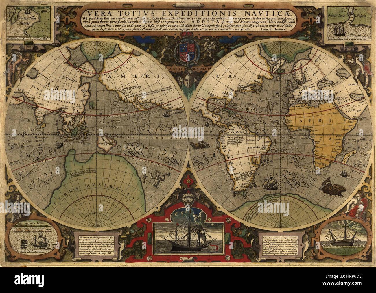 Circumnavigations of Drake and Cavendish, 1570-88 - Stock Image