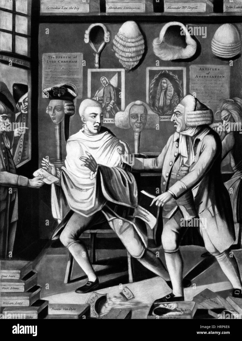 Patriotic Barber Refuses British Customer, 1775 - Stock Image