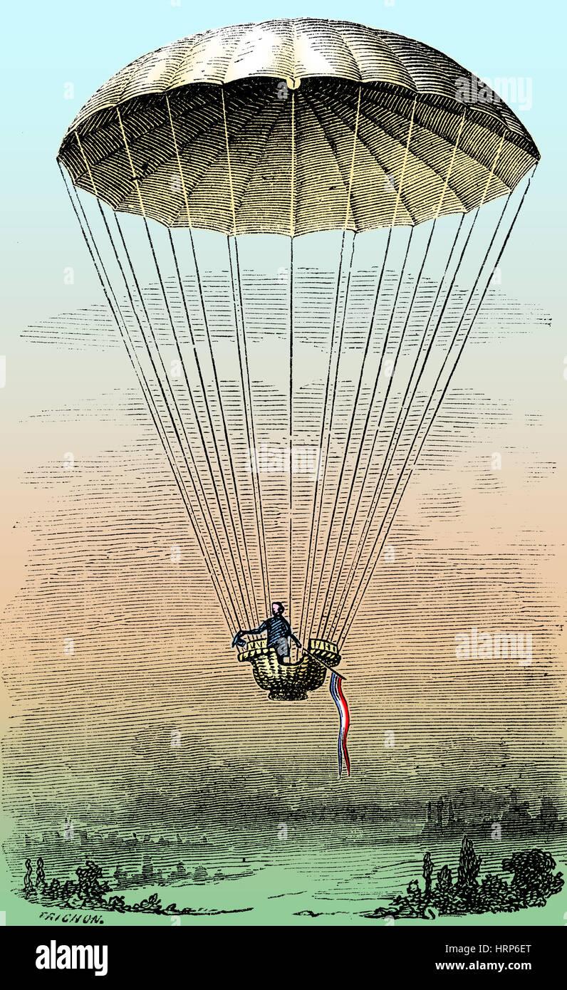 Parachute Descent, 1797 - Stock Image