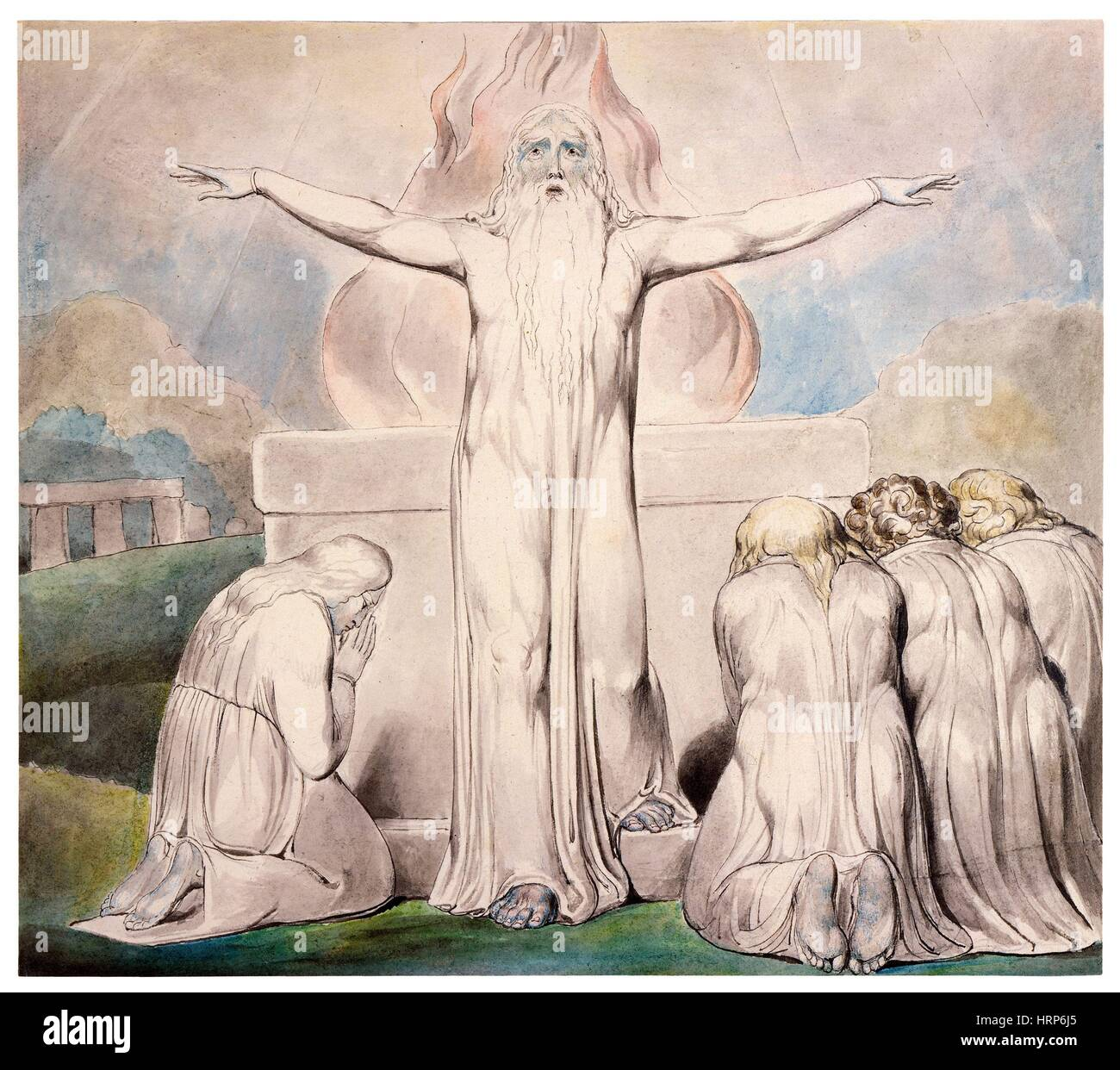 William Blake's 'Job's Sacrifice' - Stock Image