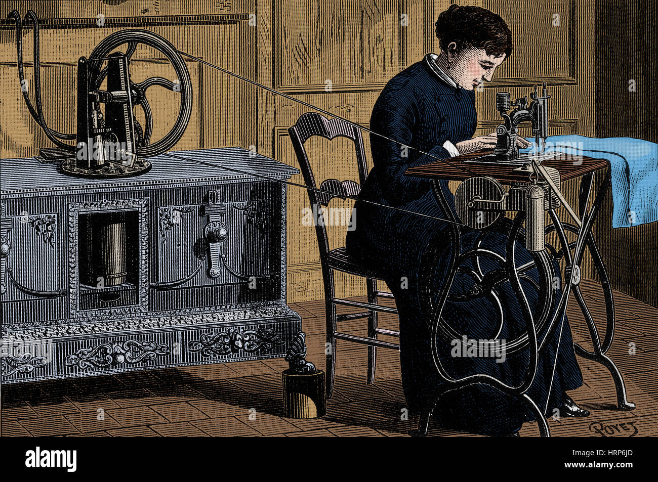 Steam Powered Sewing Machine - Stock Image