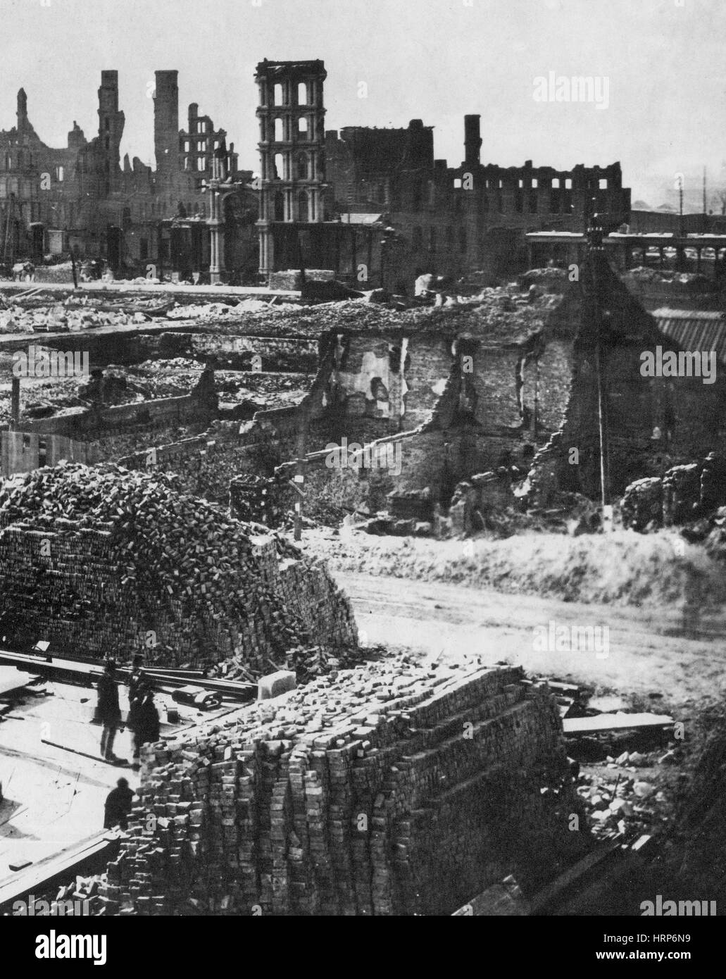 The Great Chicago Fire Aftermath, 1871 - Stock Image