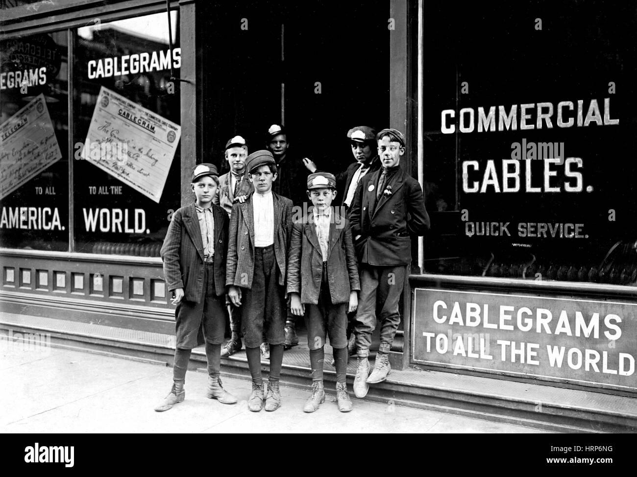 Postal Telegraph Messengers, Lewis Hine, 1908 Stock Photo