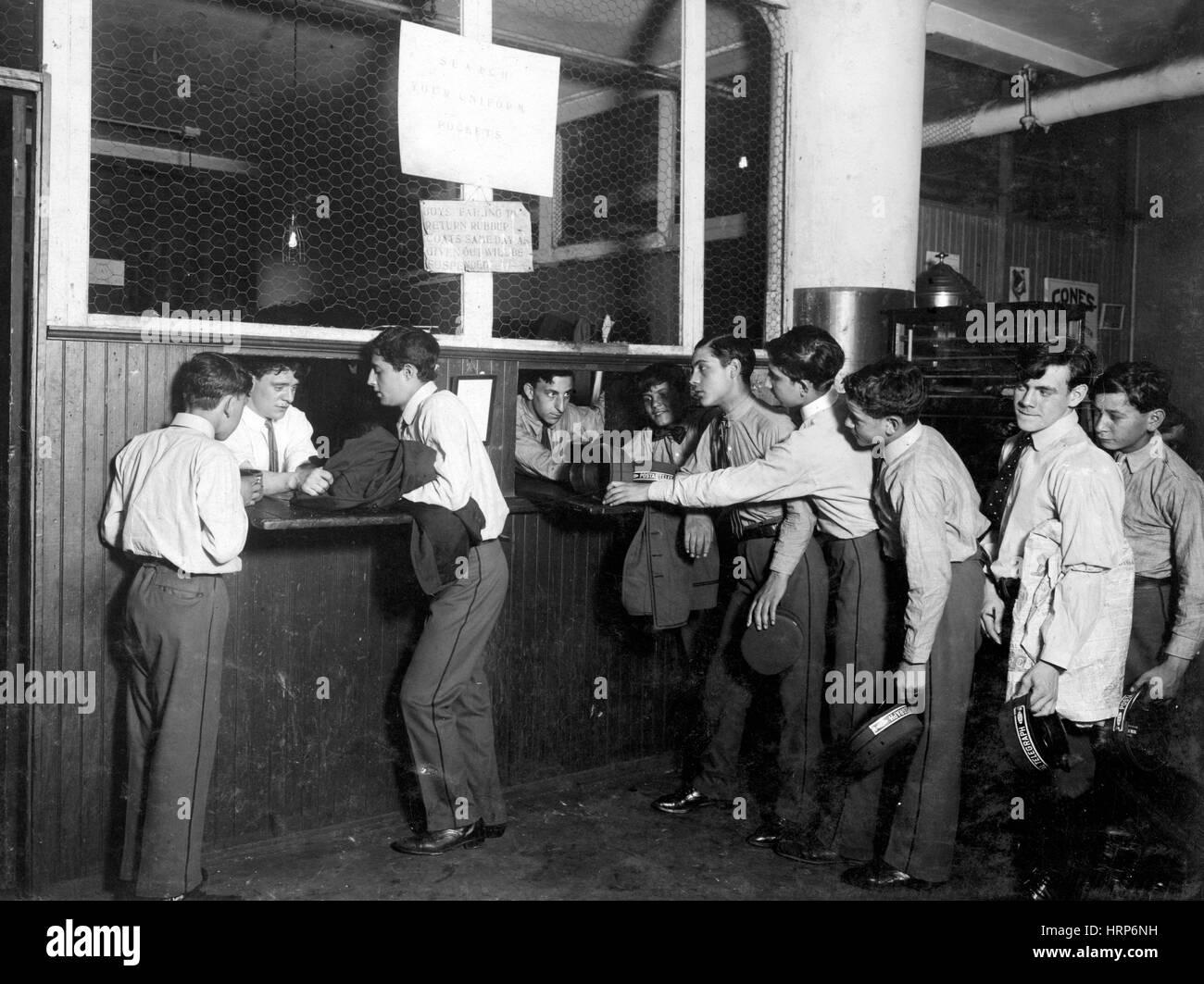 Postal Telegraph Messengers, Lewis Hine, 1910 - Stock Image