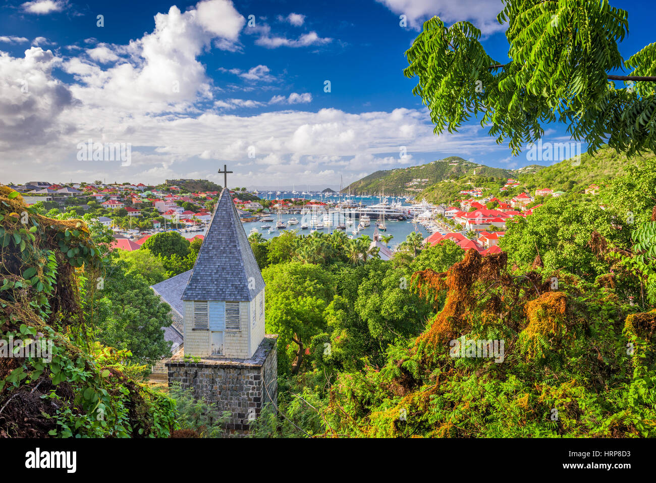Saint Barthelemy Carribean view from behind - Stock Image