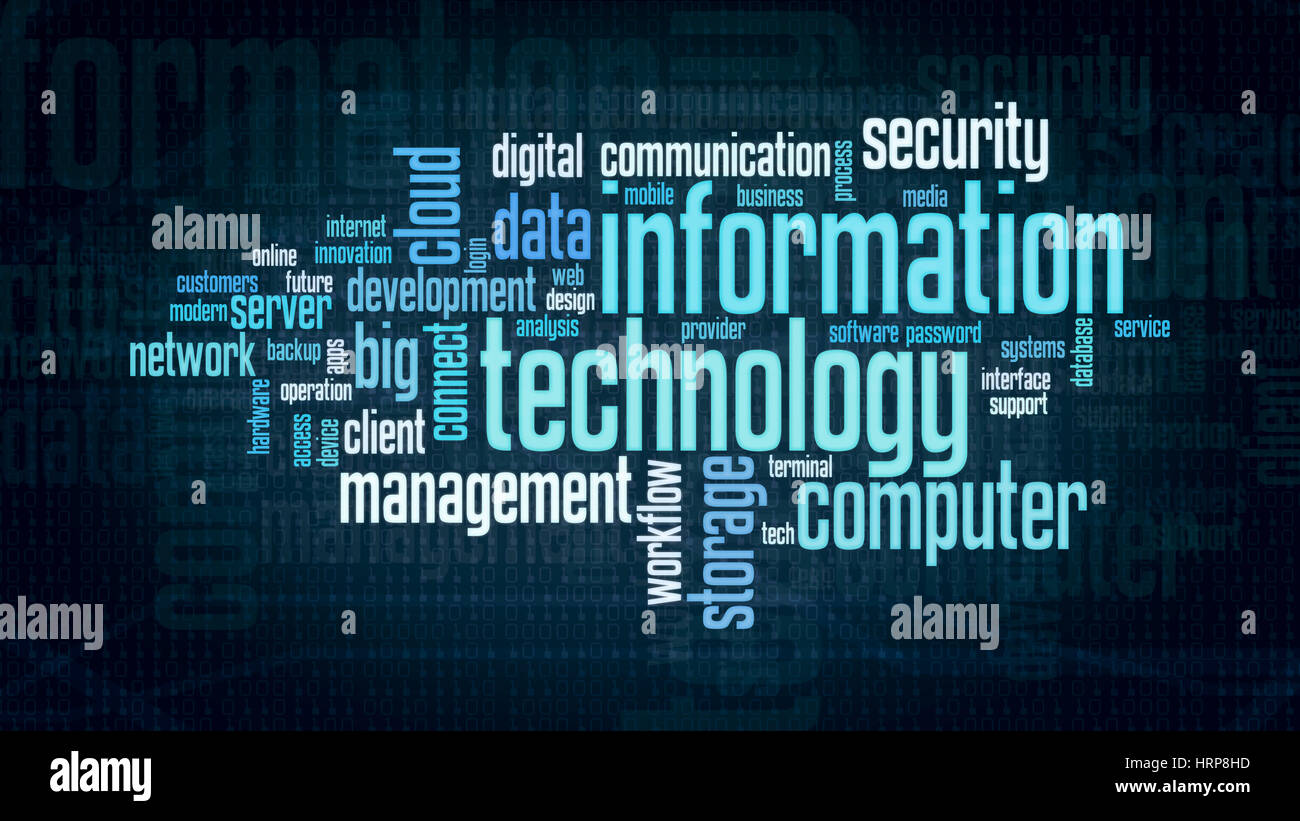 Technology Management Image: Word Cloud With Terms About Information Technology, Flat