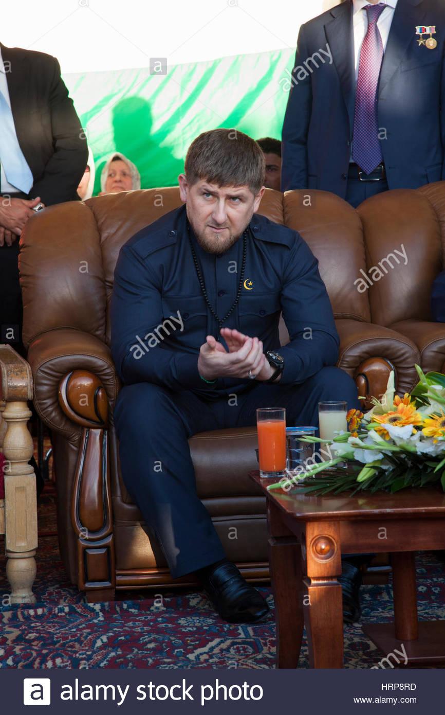 AMMAN, JORDAN - MAR 15: Chechen president Ramzan Kadyrov applaud speech at arrival ceremony to Jordan. March 15, - Stock Image