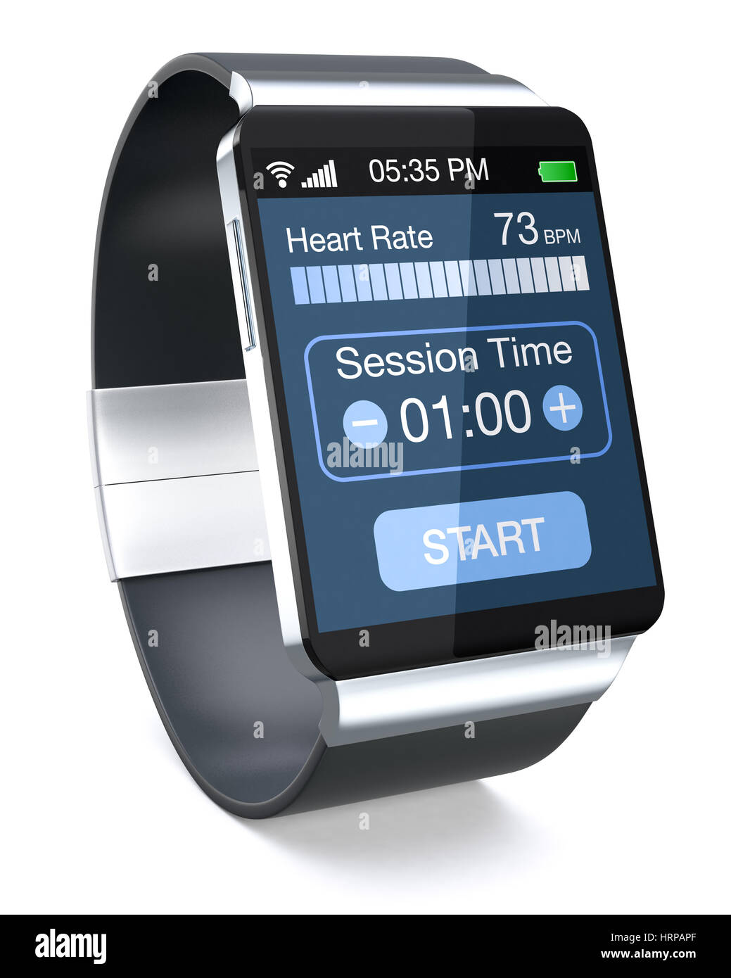 smartwatch with fitness app, on white background (3d ...