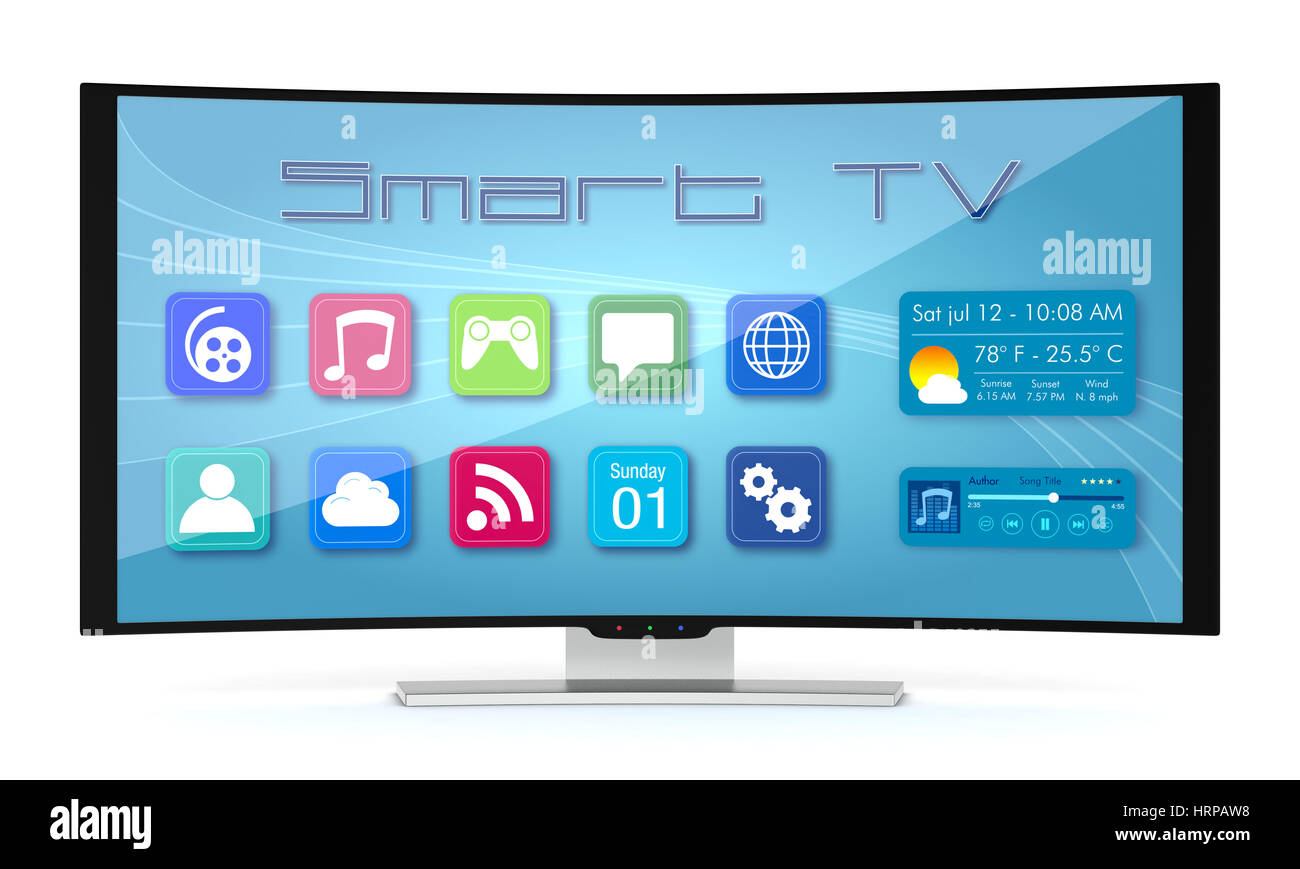 one curved smart tv, with apps screen (3d render Stock Photo