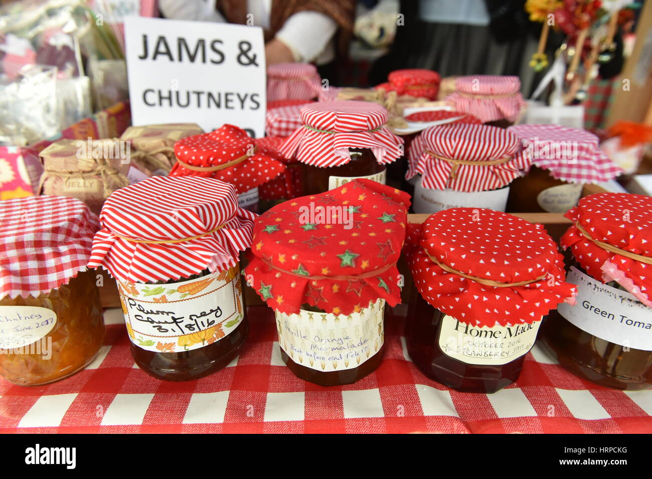 Homemade Jams and chutneys for sale on the Women's Institute stall, Bingley Yorkshire UK - Stock Image