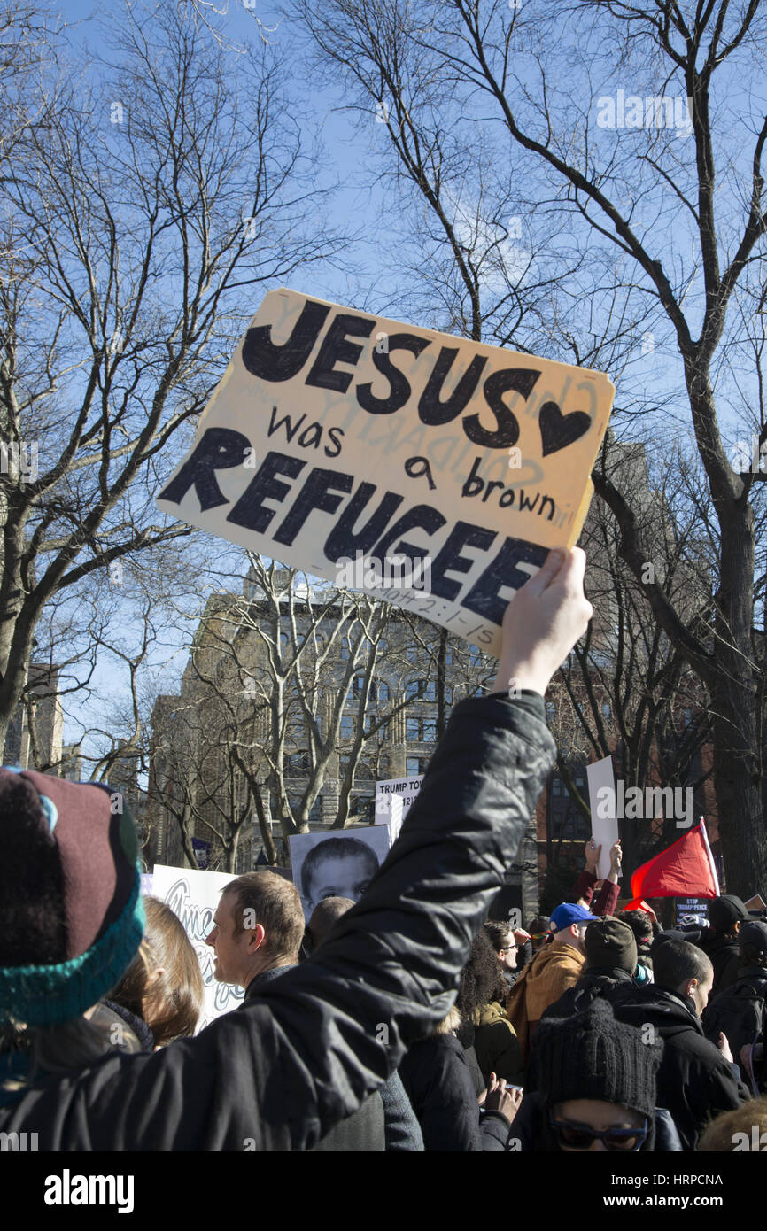 Demonstrators were out in force at Washington Square to protest Immigration and other new policies of the Trump - Stock Image