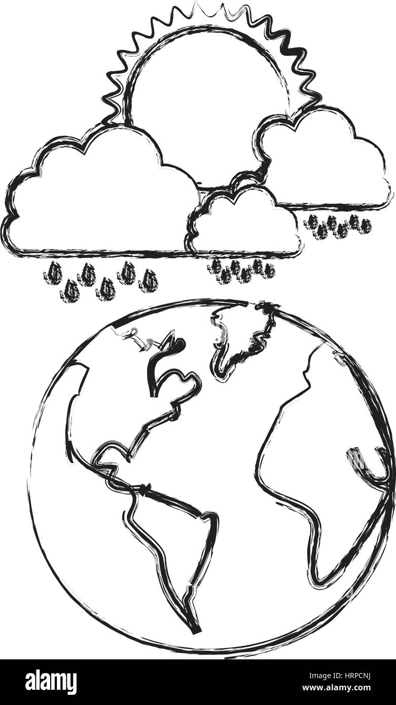 monochrome blurred contour of cloud with rain and sun over planet earth - Stock Vector