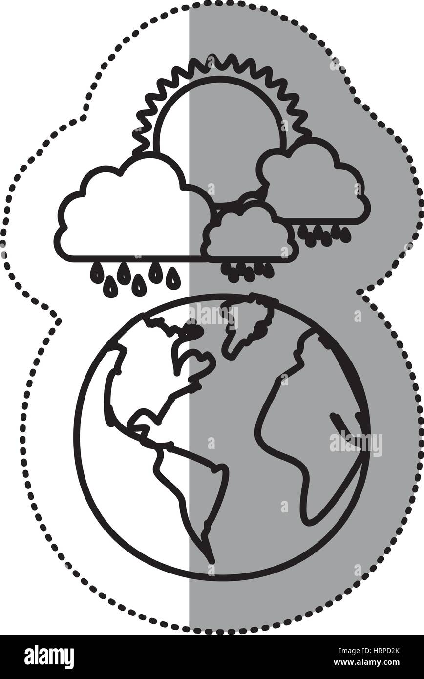 monochrome sticker contour of cloud with rain and sun over planet earth - Stock Vector