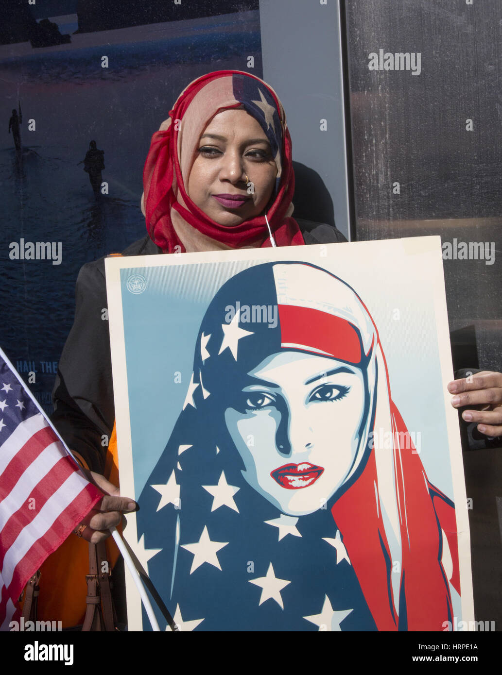 New Yorkers turned out in large numbers to support the 'I Am A Muslim' demonstration in Times Square in - Stock Image