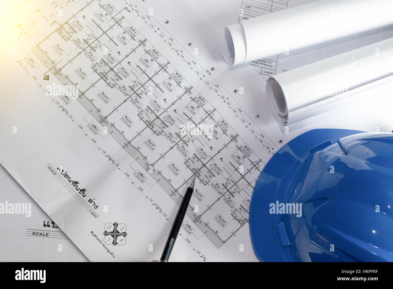 Engineering diagram blueprint paper drafting project sketch stock engineering diagram blueprint paper drafting project sketch architecturalselective focus malvernweather Images