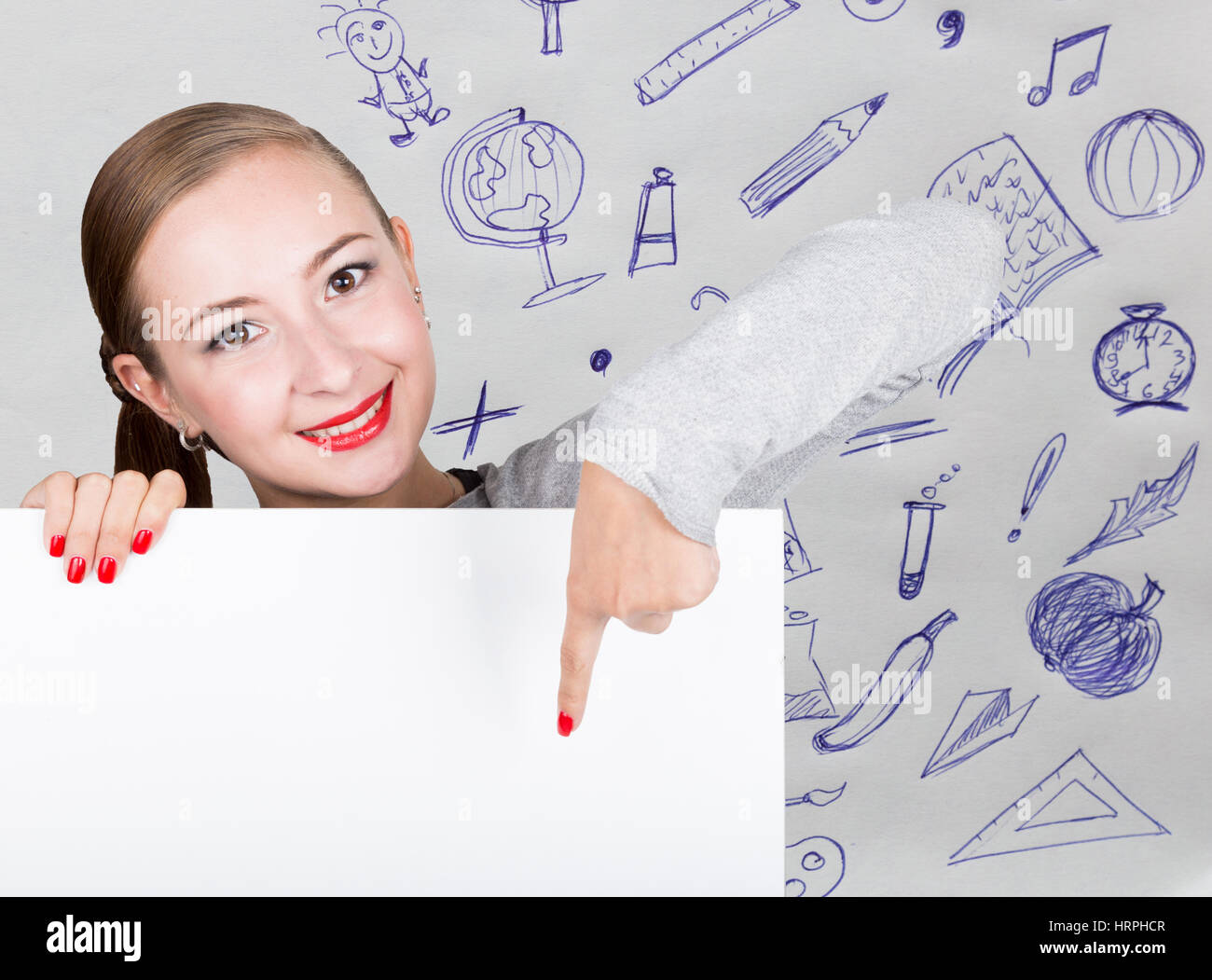 word form young Young woman holding whiteboard with writing word: white form