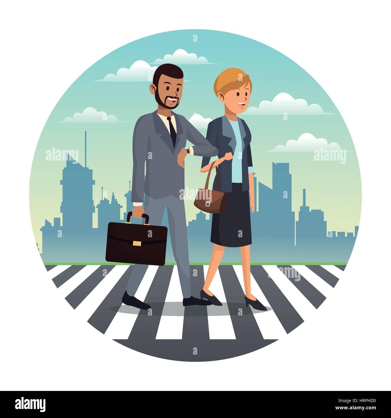 business couple walk street urban background - Stock Vector