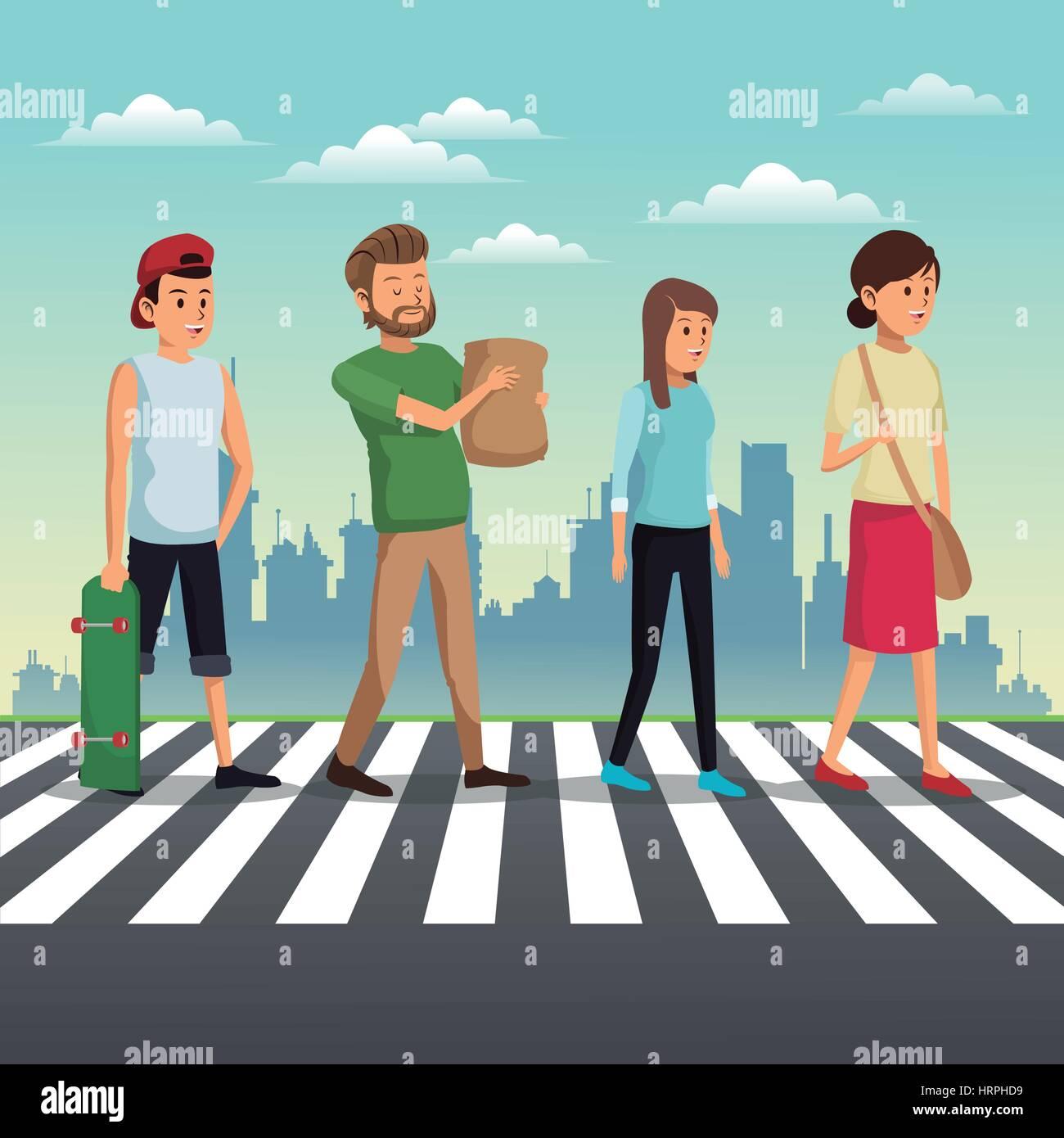 people crossing street urban background - Stock Vector