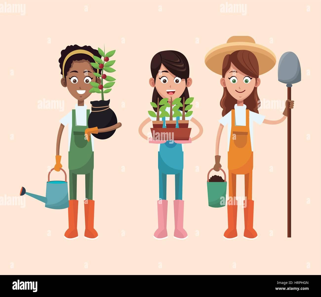 group women farmer equipment work - Stock Image