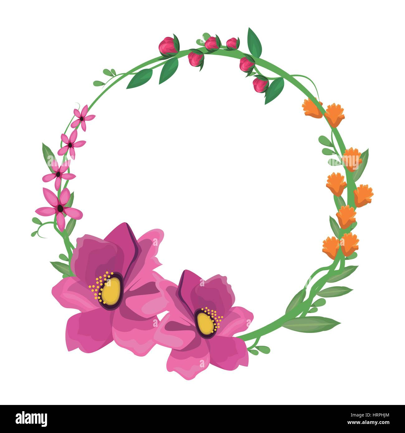 flower anemone crown decoration - Stock Vector