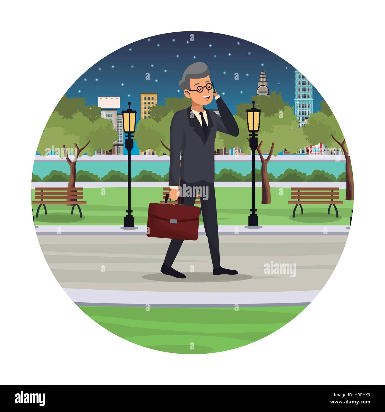 business man talk walking street view night - Stock Image