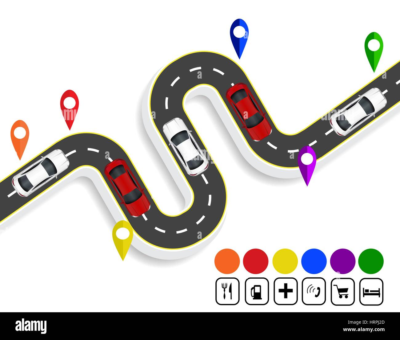 Infographics. Marks navigator. Winding road with markings. Cars. Top view with shadow. illustration - Stock Image