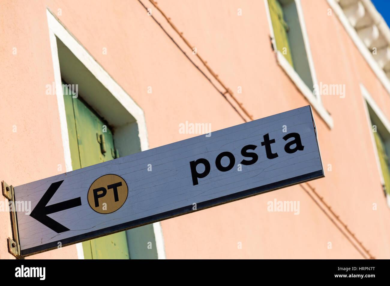 Posta sign at Burano, Venice, Italy in January - Stock Image