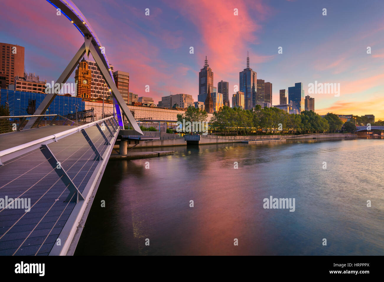 City of Melbourne. Cityscape image of Melbourne, Australia during summer sunrise. - Stock Image