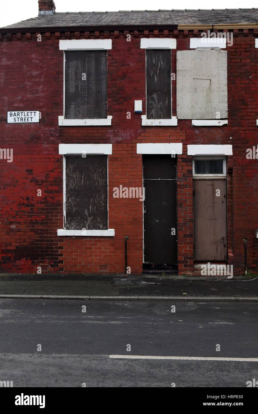 Boarded up houses in Beswick , East Manchester , England , UK - Stock Image